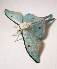 Fabric sculpture Large Indian Luna Moth textile art by YumiOkita Art Fibres Textiles, Textile Fiber Art, Sculpture Textile, Soft Sculpture, Beautiful Bugs, Beautiful Butterflies, Beautiful Pictures, Butterfly Embroidery, Embroidery Art