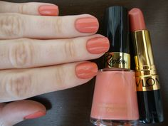 Revlon Demure nail polish and lipstick. Same color for nails and lips. So girly and chic !