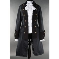 Ladies Solid Black Pirate Jacket Princess Victorian Goth Tail Coat $9 Ship