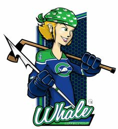 NWHL: Connecticut Whale - A Hockey Player with a hockey stick on one hand & a harpoon on the other .