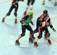 masochistic-eventuality:  #808 Yoga Nabi Sari gives a clinic on how to single block a jammer.  This was the post that made me realize GIFs were perfect for short roller derby strategy dumps. Lots of other good giffery from Rose City on that blog, too.