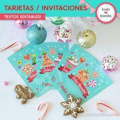 Dulce Navidad: tarjetas/invitaciones Christmas Ornaments, Holiday Decor, Card Templates Printable, Invitation Cards, Wine Tags, Christmas Jewelry, Christmas Decorations, Christmas Wedding Decorations