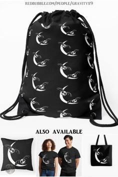 Halloween Moon, Halloween Bags, Halloween Goodies, Halloween Treats, Cute Skeleton, Back To School Backpacks, Drawstring Backpack, Chiffon Tops, Cool Designs
