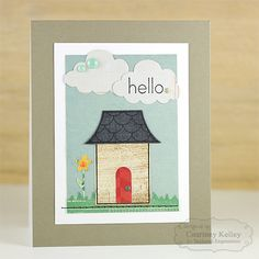 Hello Card by Courtney Kelley #Cardmaking, #JustBecause, #LittleBitsDies, #CAS