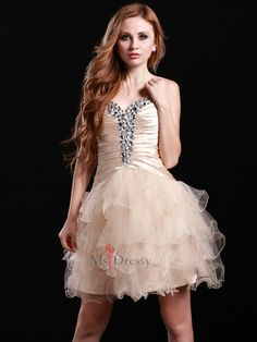 A-line Sweetheart Tulle Short/Mini Champagne Rhinestone Homecoming Dress
