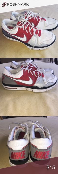 Nike Sneakrs Red, white, and grey Nike sneakers size 11.5. Do have some wear to them, but still in good condition. Haven't tried cleaning them. Nike Shoes Sneakers