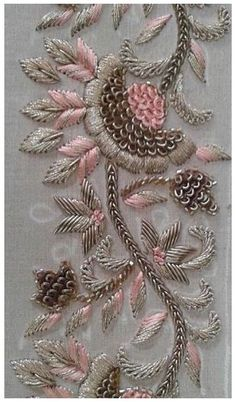 Saree Embroidery Design, Hand Embroidery Design Patterns, Zardosi Embroidery, Hand Work Embroidery, Embroidery Flowers Pattern, Embroidery Motifs, Beaded Embroidery, Embroidery Ideas, Indian Embroidery Designs