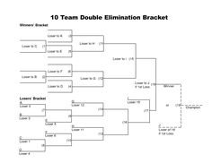 Team Double Elimination Printable Tournament Bracket  Toy Drive
