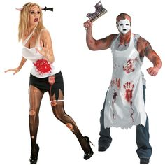 Sweat, slash, and scream. Just try not to run while carrying sharp objects. This couples costume includes bloody butcher's apron, white mask, and massive cleaver, as well as bloodstained dress with garter, knife headband horror prop, torn tights, and band aids. Don't forget to check out the matching accessories below! Scary Couples Costumes, Couple Halloween Costumes, Diy Costumes, Halloween Ideas, Costume Ideas, Chef Costume, Costume Makeup, Dress Up, Tights