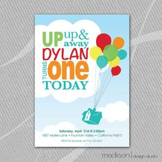 Disney Up Inspired BirthdayParty DIY Printable Invitation Birthday Baby 1st First