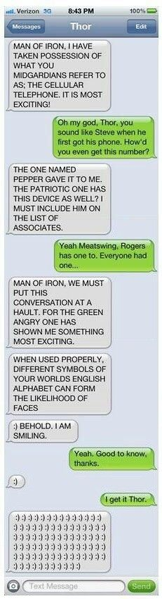 Thor on getting a cellular phone. #thor #ironman