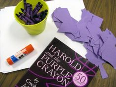 a cool spin on harold and the purple crayon. this would be fun to try instead of my usual collage lesson i do with the book. Preschool Colors, Preschool Art, Art Classroom, Classroom Projects, Classroom Ideas, Purple Crayon, Book Activities, Kid Activites, Kindergarten Art