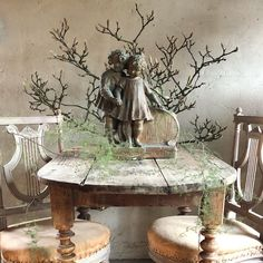 We also found this beautiful children's pair! So cute! How To Antique Wood, Beautiful Children, Plaster, Sweet Home, Home And Garden, Statue, Antiques, Cute, Instagram