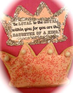 """Love these """"daughter of the King"""" cookies. We have these crown cookie cutters at the dog bakery and decorated them just like these, but  I love this idea for little girls!"""