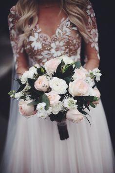 Brides Bouquet Serendipity Garden Weddings Oak Glen California Remmington Gown by Hayley Paige Blush White and Forrest Green Bouquet