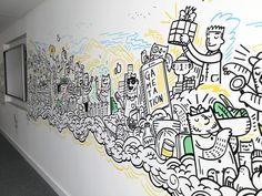 Office mural project for TCC Global in London Doodle Wall, Doodle Art Drawing, Wall Drawing, Office Wall Design, Office Mural, Mural Wall Art, Graffiti Wall, Painting Wallpaper, Mural Painting
