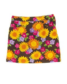 10 Years Girls Skirt by Gymboree | Kidz Outfitters Large floral print on brown corduroy with front pockets, side zipper, underpants, and adjustable waist.