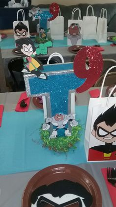Teen Titans Centerpiece Teen Titans Tower, Teen Titans Go, 9th Birthday, Girl Birthday, Birthday Decorations, Birthday Party Themes, Super Mario Party, Paw Patrol Party, Diy For Teens