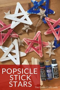 Memorial Day Crafts For Kids Discover Red White Blue Popsicle Stick Stars - The Crazy Craft Lady How to make red white and blue popsicle stick stars. This easy kids craft project is perfect to make for a summer craft Memorial Day of the of July. Popsicle Stick Crafts For Adults, Popsicle Stick Crafts For Kids, Easy Crafts For Kids, Popsicle Sticks, Summer Crafts, Holiday Crafts, Art For Kids, Summer Diy, Kids Fun