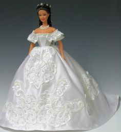 Sissi Barbie in white silk gown by Bavarian Dolls, via Flickr