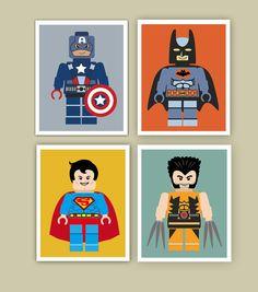 Lego Wall Art superhero wall art prints, printed super hero wall art, superhero