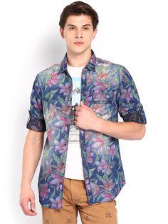 Floral washed denim shirt