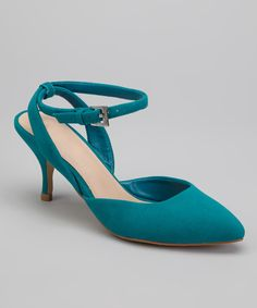 Look at this Teal Nicki Kitten Heel on #zulily today!