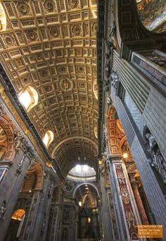 Looking Up Inside the Vatican - Rome Italy