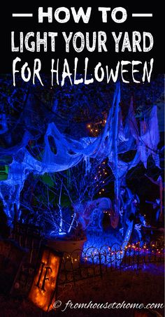 These Halloween outdoor lighting ideas are AWESOME! Im definitely using some of them to decorate my front yard this year. - Outdoor Lighting - Ideas of Outdoor Lighting Outdoor Halloween Parties, Halloween Porch, Holidays Halloween, Spooky Halloween, Halloween Ideas, Halloween 2019, Halloween Stuff, Diy Halloween Yard Signs, Halloween Crafts