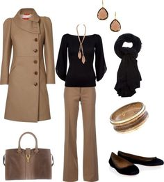 Black Long-sleeve Tee, Khaki Wide-legged Pants, Scarf or Statement Necklace, Black Heels. WINTER