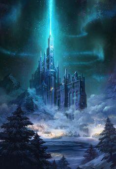 Castle on the snow mountain, hahi YU - Worlds Inside Our Heads Fantasy City, Fantasy Castle, Fantasy Places, Fantasy World, Fantasy Concept Art, Dark Fantasy Art, Fantasy Artwork, Space Fantasy, Fantasy Art Landscapes