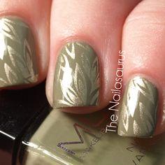 Wonderful earth tone nails! Sage green with a gold foliage pattern.  By The Nailasaurus   UK Nail Art