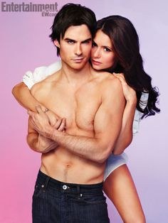 Ian Somerhalder and Nina Dobrev. they are so cute together. she is gorgeous and he is amazing.