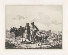 Frédéric Théodore Faber | Man en vrouw met bepakte ezel, Frédéric Théodore Faber, 1842 | Een man en een vrouw lopen met een kudde schapen achter een bepakte ezel.