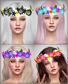 Jennisims: Downloads sims 4: Accessory crown diadem of flowers Male /Female