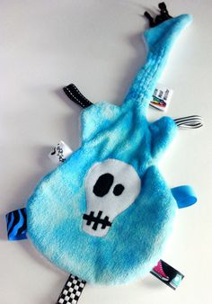 GuiTag - Guitar Shape Skull Blanket / Lovey in Teal Blue (Punk Rocker / Music / Metal Theme) for teething babies, infants and toddlers. $24.00, via Etsy.