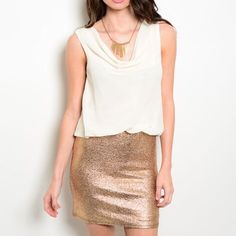 Golden Shimmer Dress Shimmery gold skirt with a white flowy chiffon top. Wear to any special event! Dresses Mini