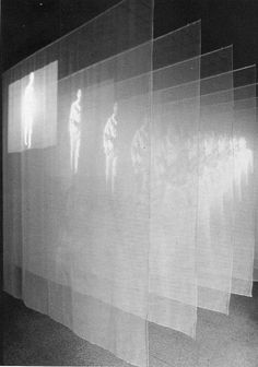 Bill Viola, The Veiling Not sure how they have done this but I like the use of multiple projection surfaces in front of eachother - like a fading memory. Could see how people could interact with this by walking in between The Veiling, 1995. Video/sound installation, including two channels of color video projections from opposite sides of dark Gallery through nine scrims suspended from the ceiling G: