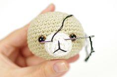Easy Amigurumi Bear Pattern : How to stitch teddy bear nose? amigurumi tutorial by lilleliis