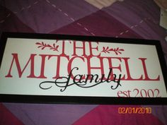 Name frame used making Cricut and picture frame
