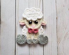 Peep the Sheep Applique Pack- Crochet Pattern Only- Sheep- Lamb- Baby Sheep- Baby Lamb- Crochet Applique Pattern - Crochet squares - Crochet Sheep, Crochet Animals, Crochet Hook Sizes, Crochet Hooks, Half Double Crochet, Single Crochet, Crochet Applique Patterns Free, Crochet Appliques, Caron One Pound Yarn