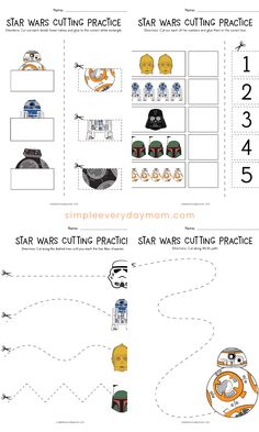These free printable Star Wars themed worksheets are great scissor practice for toddlers, preschool and kindergarten children. They're a fun kids activity to work on fine motor skills. Preschool Learning Activities, Preschool Printables, Craft Activities For Kids, Cutting Activities, Dementia Activities, Preschool Worksheets, Physical Activities, Free Printables, Scissor Practice