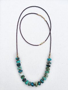 Rustic Heishi Turquoise Necklace Seed Bead Necklace by KadhiBo Seed Bead Necklace, Seed Bead Jewelry, Diy Necklace, Stone Jewelry, Beaded Jewelry, Handmade Jewelry, Jewelry Necklaces, Seed Beads, Hippie Jewelry