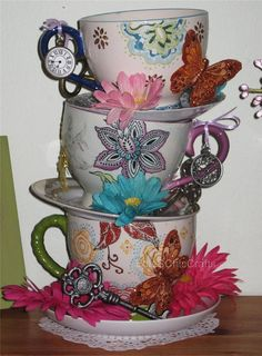 Stacked Teacup Centerpiece (Handpainted Cups with Keys & Clocks) - Mad Hatter Tea Party, Shower, Birthday - Inspired by Alice in Wonderland