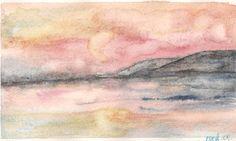 """""""alba sul mare-isola del Giglio"""". acquerello. by Cristina De Amicis"""