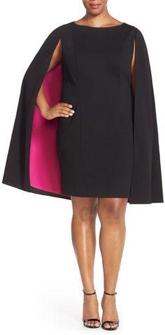 Adrianna Papell Color Pop Crepe Cape Sheath Dress (Plus Size)