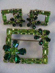 Signed SHERMAN two tone green brooch/pin & earrings set