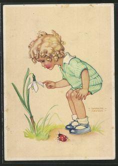 http://www.ak-ansichtskarten.de/shop/ak/28/2846006/Kuenstler-AK-Lungers-Hausen-blondes-Maedchen-beschaut-sich-Schneegloeckchen-Marienkaefer....