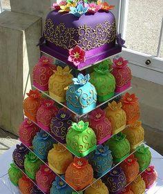 Mendhi Inspired Cupcake Tower