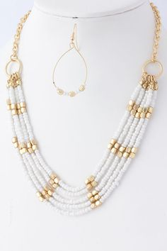 Gold & White Seed Bead Multi-strand Necklace